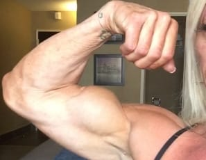We get quite a few audition videos sent to us. It's rare when we get a really special one. Lacey's selfie video was one of the special ones. 12 weeks out from a competition Lacey looks amazing; her bulging biceps, muscular legs, and powerful pecs are all on display. However, its when Lacey's boyfriend pulls out his cock and Lacey displays her extraordinary oral skills that this video really heats up. This is definitely NOT the last time you will see Lacey. We've asked her for more video and we've invited her to shoot with us. We think she's passed the audition!