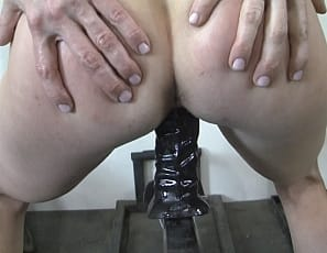Charlotte is a masturbation innovator. I mean just look at how she rigs up her gym equipment to give her pleasure. You can hear her wet pussy and she penetrates herself with her favorite black dildo. This is the best gym session ever!