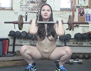 Sexy Danica Dane is in the gym when one of her admirers gets a little close - touch and massaging her biceps, calves, and quads. This doesn't seem to bother Danica too much as she continues lifting weights totally naked!
