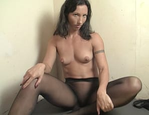 Flexible Wenona's wearing nothing but sheer black pantyhose for your virtual session, showing off her muscular abs, biceps, legs and glutes, and letting you cum all over her ass. Watch in close-up.
