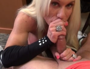Female bodybuilder and muscle porn star Ashlee Chambers uses to give a hand job and blow job, then squeezes his cock between her powerful pecs. You get to watch the female muscle sex from his POV.